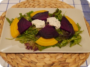 Beet Salad with Vegan Goat Cheese