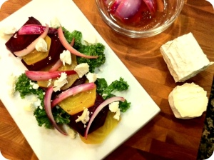 Beet Salad with Goat Cheese and Marinated Onions