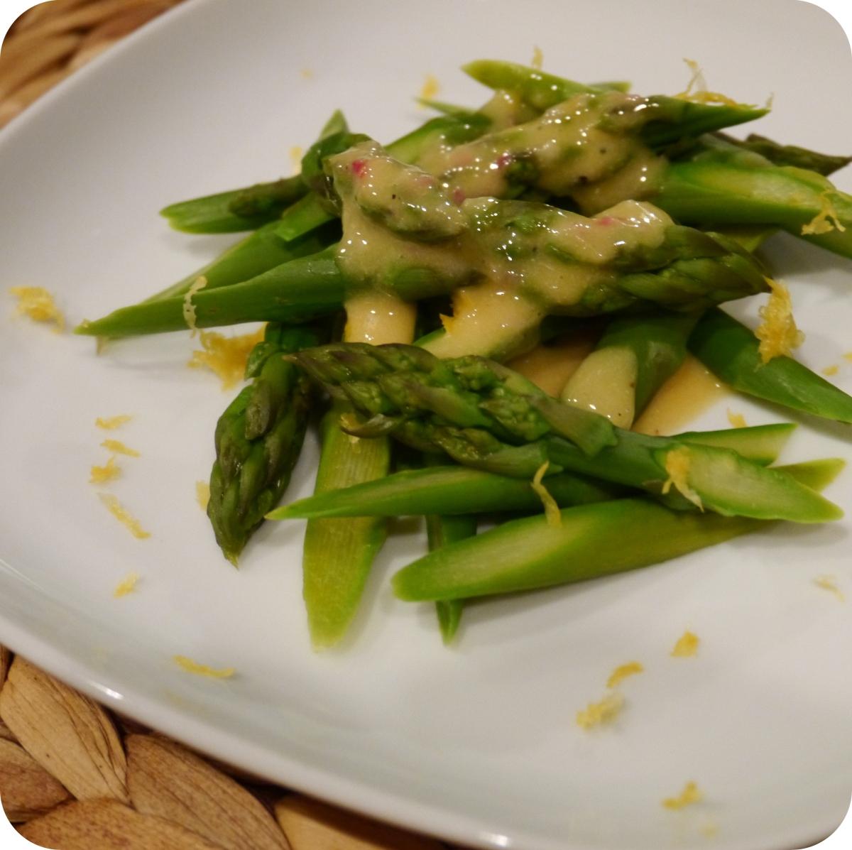 Asparagus with Dijon Shallot Vinaigrette | Fried Tofu