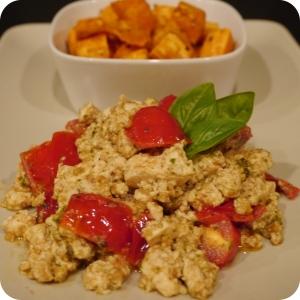 Tomato & Pesto Tofu Scramble